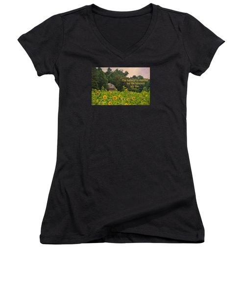 The Harvest Is Plentiful Women's V-Neck T-Shirt (Junior Cut) by Sandi OReilly
