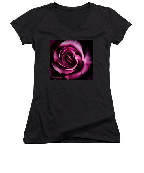 The Heart Of A Rose Women's V-Neck (Athletic Fit)