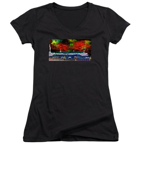 Women's V-Neck T-Shirt (Junior Cut) featuring the painting The Heavens by Michael Rucker