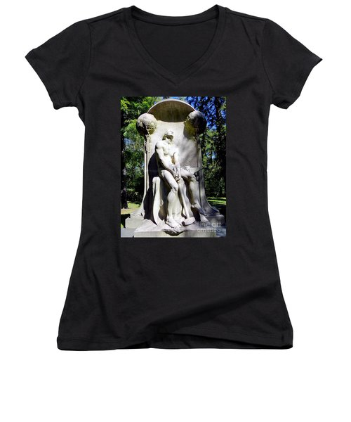 The Henry Villard Memorial Women's V-Neck T-Shirt (Junior Cut) by Ed Weidman