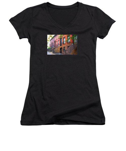 The Historic Brownstones Of Brooklyn Women's V-Neck T-Shirt (Junior Cut) by Dora Sofia Caputo Photographic Art and Design
