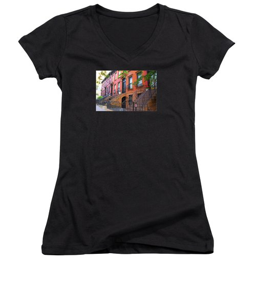 The Historic Brownstones Of Brooklyn Women's V-Neck (Athletic Fit)