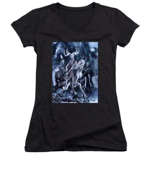 Women's V-Neck T-Shirt (Junior Cut) featuring the painting The Horned King 2 by Curtiss Shaffer