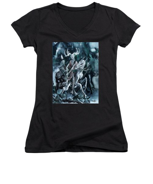 Women's V-Neck T-Shirt (Junior Cut) featuring the painting The Horned King by Curtiss Shaffer
