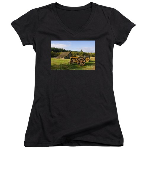 The Johnson Farm Women's V-Neck T-Shirt (Junior Cut)