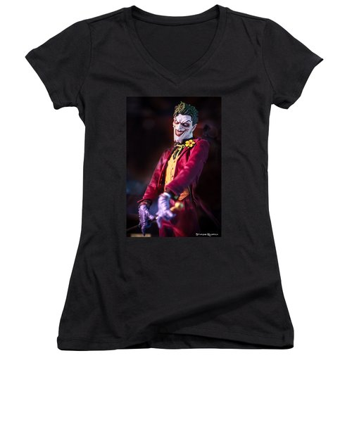 Women's V-Neck featuring the photograph The Joker Dummy by Stwayne Keubrick