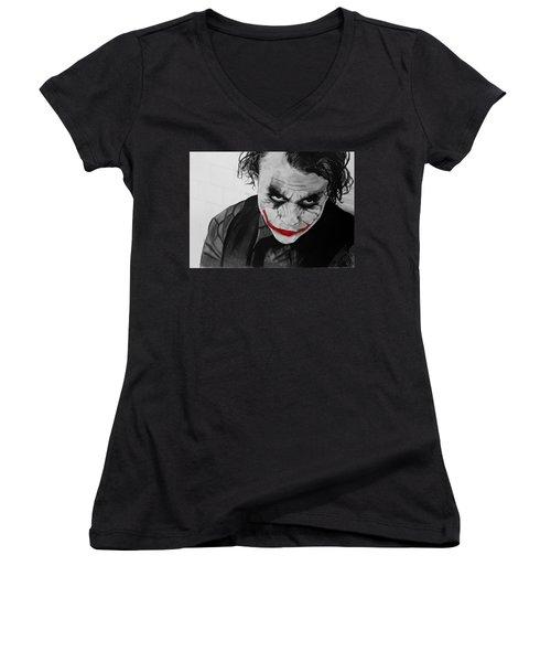 The Joker Women's V-Neck T-Shirt (Junior Cut) by Robert Bateman