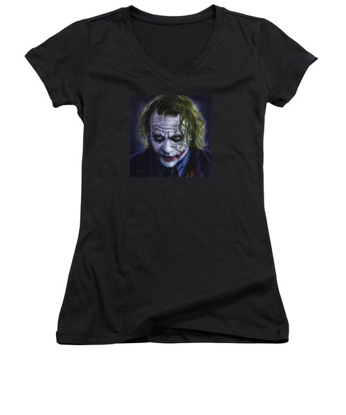The Joker Women's V-Neck T-Shirt (Junior Cut) by Timothy Scoggins