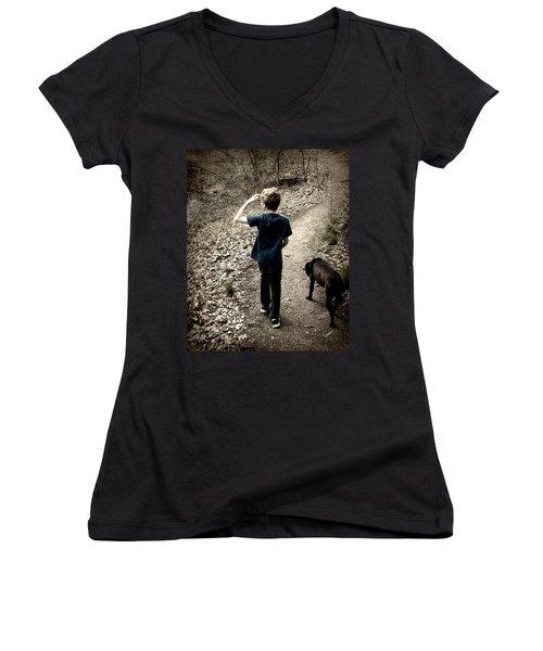 The Journey Together Women's V-Neck T-Shirt (Junior Cut) by Bruce Carpenter