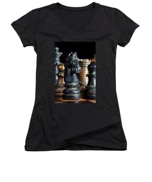 The Knights Challenge Women's V-Neck T-Shirt (Junior Cut) by Joe Kozlowski