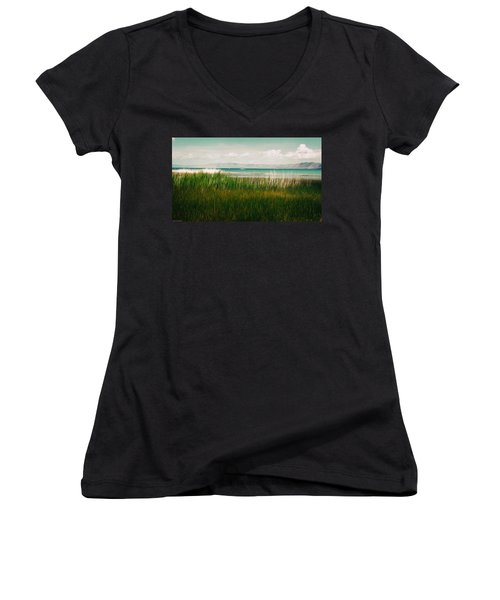 The Lake - Digital Oil Women's V-Neck T-Shirt (Junior Cut) by Mary Machare