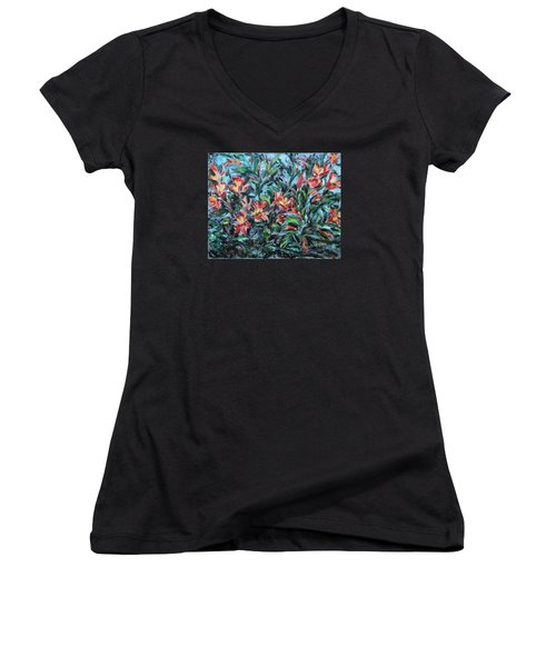 Women's V-Neck T-Shirt (Junior Cut) featuring the painting The Late Bloomers by Xueling Zou