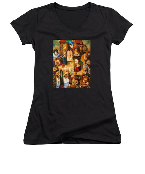 Women's V-Neck T-Shirt (Junior Cut) featuring the painting The Letter by Igor Postash