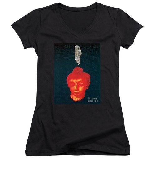 Women's V-Neck T-Shirt (Junior Cut) featuring the painting The Light Of Face_ Sold by Fei A