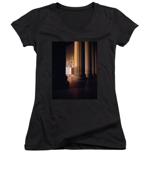 The Lincoln Memorial In The Morning Women's V-Neck T-Shirt (Junior Cut) by Panoramic Images