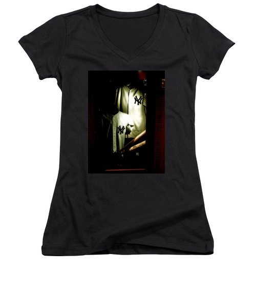 The Locker  Mickey Mantle's And Joe Dimaggio's Locker Women's V-Neck T-Shirt (Junior Cut) by Iconic Images Art Gallery David Pucciarelli