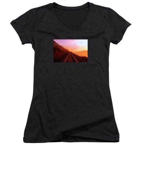 The Long Walk To No Where  Women's V-Neck T-Shirt (Junior Cut) by Jeff Swan