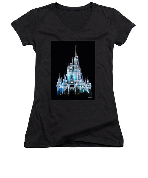 The Magic Kingdom Castle In Frosty Light Blue Walt Disney World Women's V-Neck T-Shirt (Junior Cut) by Thomas Woolworth