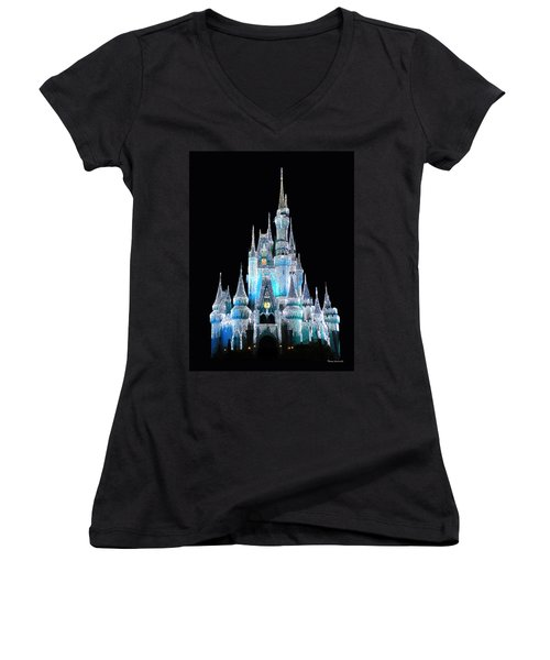 The Magic Kingdom Castle In Frosty Light Blue Walt Disney World Women's V-Neck (Athletic Fit)