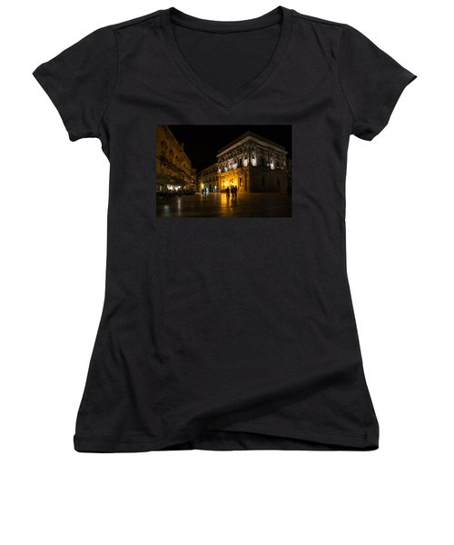 Women's V-Neck T-Shirt (Junior Cut) featuring the photograph The Magical Duomo Square In Ortygia Syracuse Sicily by Georgia Mizuleva