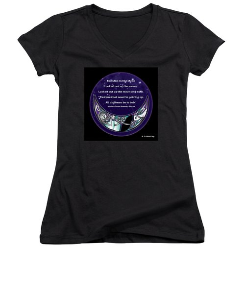 The Man In The Moon Women's V-Neck (Athletic Fit)