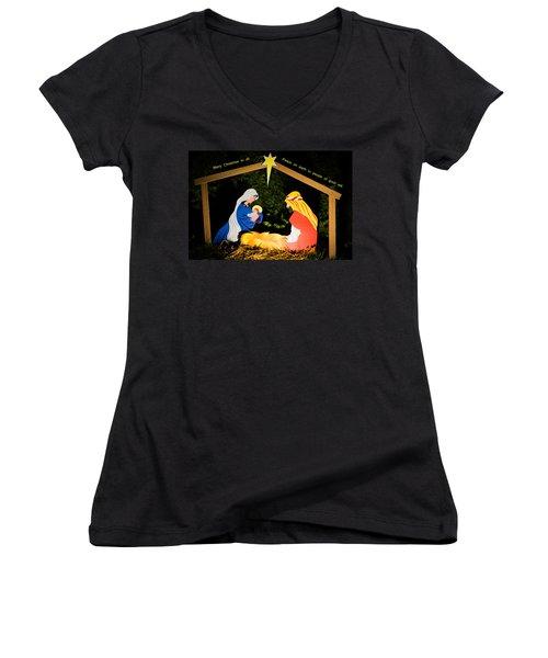 O Holy Night Women's V-Neck T-Shirt (Junior Cut) by Kenneth Cole