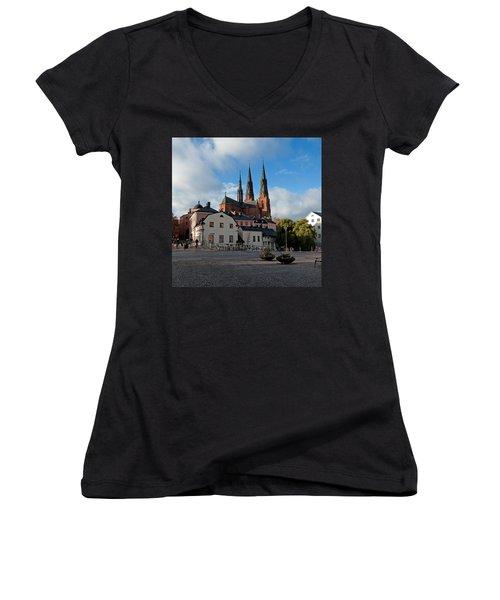 The Medieval Uppsala Women's V-Neck T-Shirt (Junior Cut) by Torbjorn Swenelius