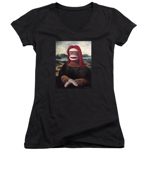 The Monkey Lisa Women's V-Neck T-Shirt (Junior Cut) by Randy Burns