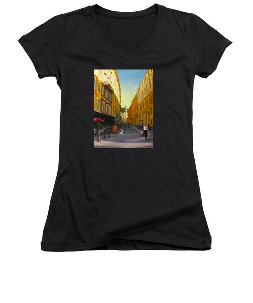 The Morning's Shopping In Vieux Nice Women's V-Neck T-Shirt (Junior Cut) by Connie Schaertl