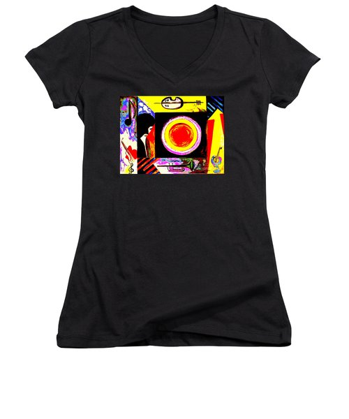 Women's V-Neck T-Shirt (Junior Cut) featuring the painting The Music Maker by Hazel Holland
