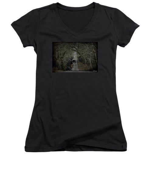 The Nightmare Women's V-Neck T-Shirt (Junior Cut) by Davandra Cribbie