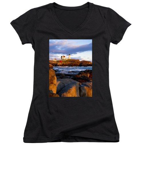 The Nubble Lighthouse Women's V-Neck T-Shirt (Junior Cut) by Steven Ralser