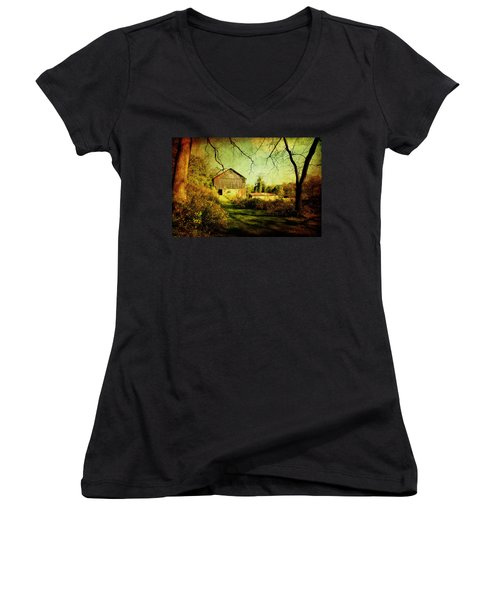Women's V-Neck T-Shirt (Junior Cut) featuring the photograph The Old Barn With Texture by Trina  Ansel