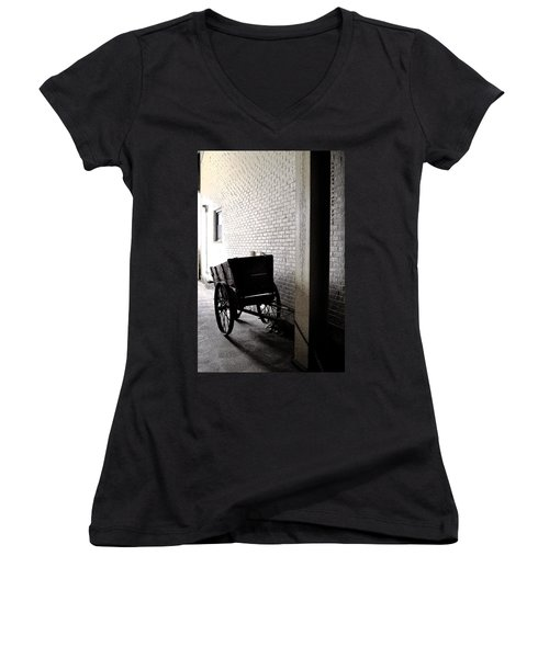 Women's V-Neck T-Shirt (Junior Cut) featuring the photograph The Old Cart From The Series View Of An Old Railroad by Verana Stark