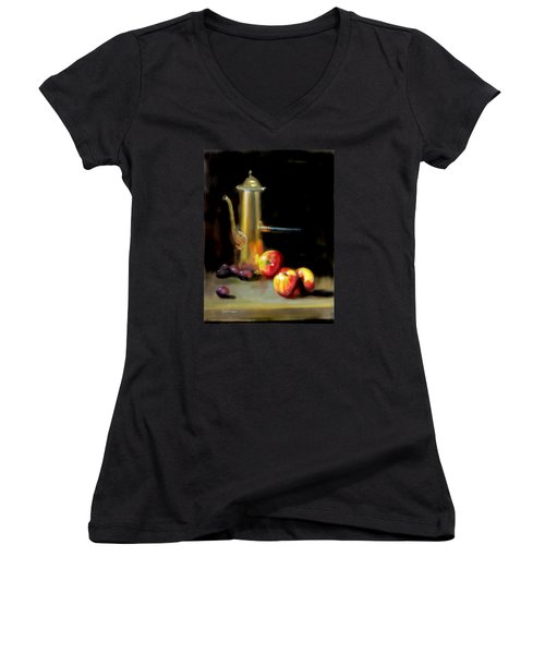 The Old Coffee Pot Women's V-Neck T-Shirt (Junior Cut) by Barry Williamson