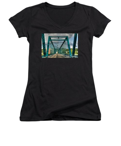 The Old Sixth Street Bridge Women's V-Neck T-Shirt (Junior Cut) by Robert Pearson