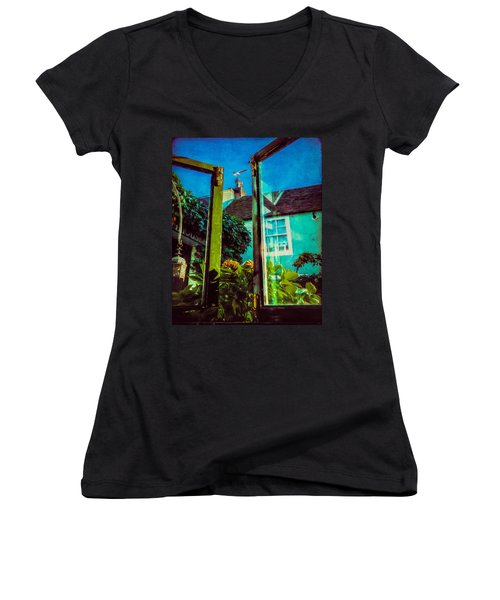 Women's V-Neck T-Shirt (Junior Cut) featuring the photograph The Open Window by Chris Lord