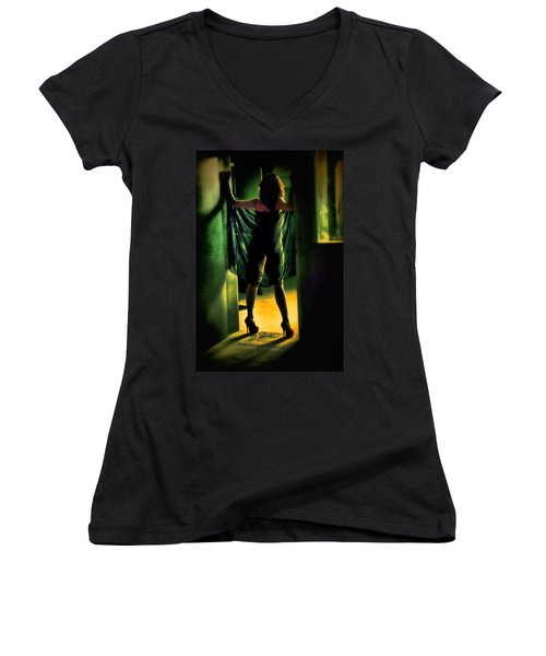 The Other Side Women's V-Neck T-Shirt (Junior Cut) by Diane Dugas
