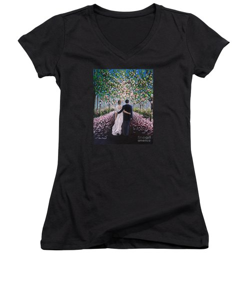 The Path Of Love  Women's V-Neck T-Shirt (Junior Cut) by Vesna Martinjak