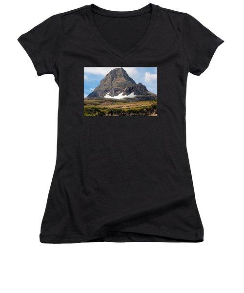 Women's V-Neck T-Shirt (Junior Cut) featuring the photograph The Peak At Logans Pass by John M Bailey