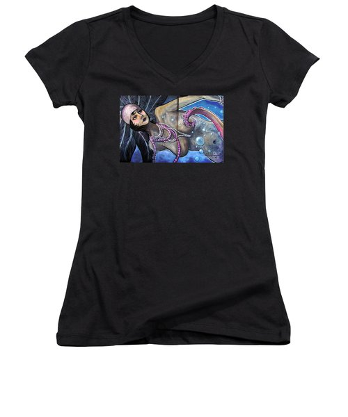 The Pearl Mermaid Women's V-Neck T-Shirt (Junior Cut) by Colleen Kammerer