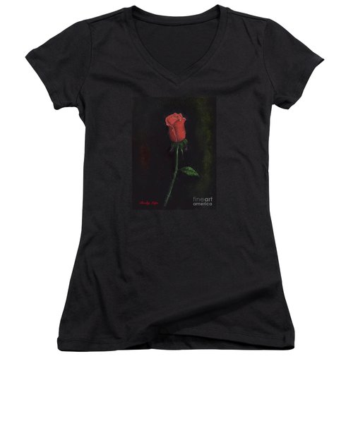 The Perfect Rose Women's V-Neck T-Shirt (Junior Cut) by Becky Lupe