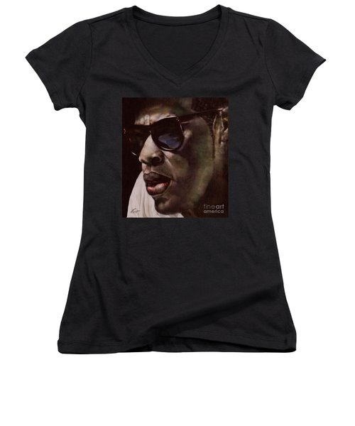 The Pied Piper Of Intrigue - Jay Z Women's V-Neck T-Shirt (Junior Cut) by Reggie Duffie
