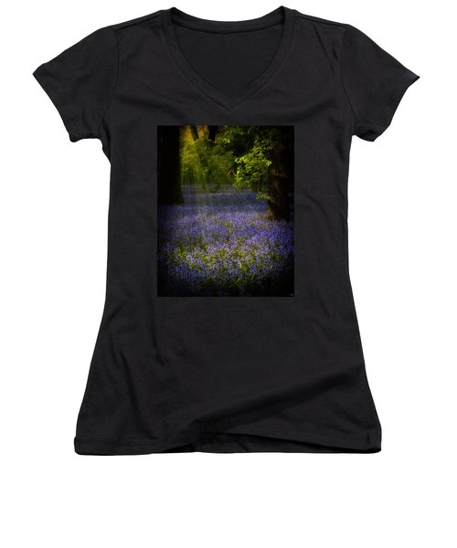 Women's V-Neck T-Shirt (Junior Cut) featuring the photograph The Pixie's Bluebell Patch by Chris Lord