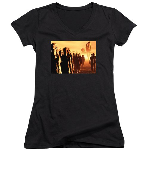 Women's V-Neck T-Shirt (Junior Cut) featuring the digital art The Post Apocalyptic Gods by John Alexander