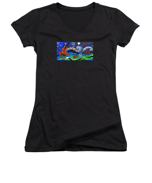 The Power Of Music Women's V-Neck T-Shirt (Junior Cut) by Genevieve Esson