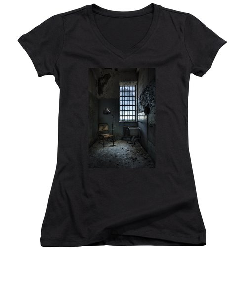 Women's V-Neck T-Shirt (Junior Cut) featuring the photograph The Private Room - Abandoned Asylum by Gary Heller