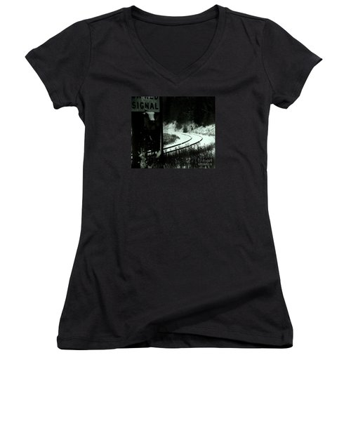 The Rail To Anywhere Women's V-Neck T-Shirt (Junior Cut) by Linda Shafer