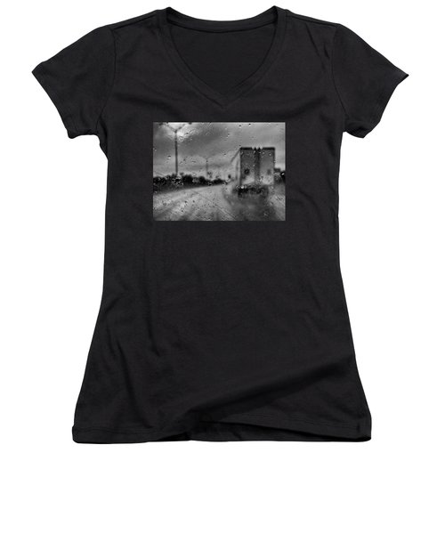 The Rain Makes Mysteries Women's V-Neck (Athletic Fit)