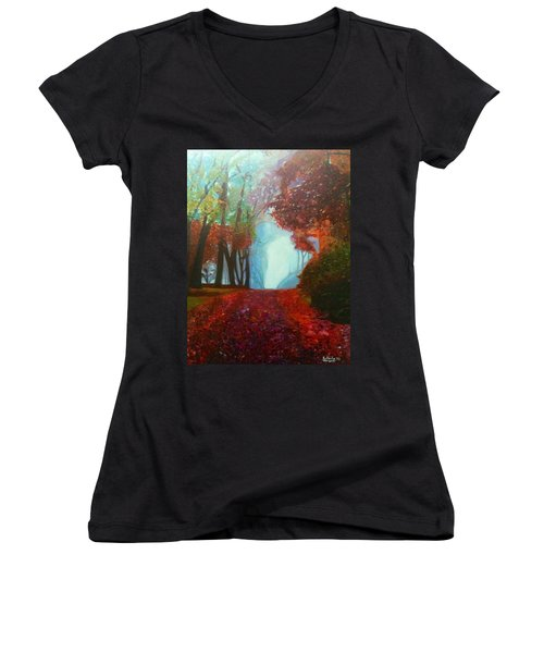 The Red Cathedral - A Journey Of Peace And Serenity Women's V-Neck T-Shirt (Junior Cut) by Belinda Low